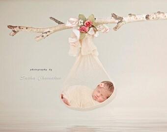 Digital backdrop newborn baby  girl fairy tail hanging
