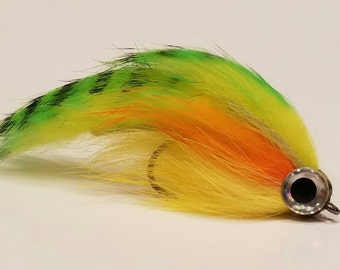 Perch colored streamer, bass streamer, fly fishing fly, flies, bait fish, bass flies, streamers