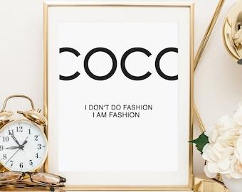 Poster, Print, Wallart, Coco Quote, artprint: Coco, I don't do fashion, I am fashion