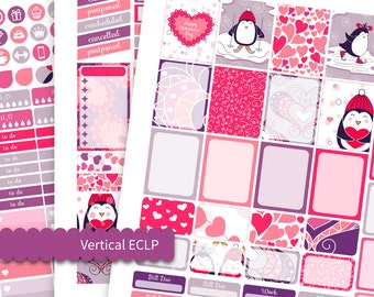 Printable Valentines Stickers Kit Penguins with Red Heart Vertical Functional Kit Erin Condren Weekly Set Planner Stic Winter Sport Stickers