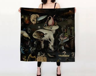 """the garden of earthly delights - hieronymus bosch - 36"""" silk scarf"""