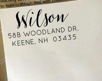 Address Stamp, Custom Return Address Stamp, Self Ink Stamp, Wooden Stamp, Personalized Gift, Calligraphy Script Stamp, Wedding Stamp