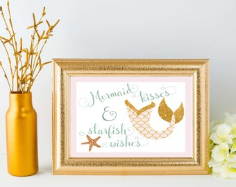 Mermaid Kisses & Starfish Wishes 8x10 Printable - Pink and Gold