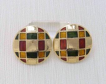 Vintage Edgar Berebi Earrings - Earrings With Enamel Accents - Holiday Earrings - Checkerboard Earrings - Festive Earrings - Gift For Her