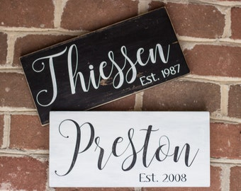 Last Name Sign | | Family Name Sign | Personalized Sign | Custom Sign | Wood Sign | Established or Est. Date | Wedding or Anniversary Gift