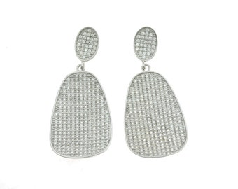 zirconates hypoallergenic earrings 925 sterling silver plated with white gold size 4.5 cm