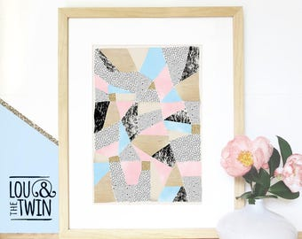 A2 Abstract Instant Digital Download, Modern art with Triangles, Geometric shapes, Pastels, Stars, Sprinkle & Photo of Glitter/ Wood