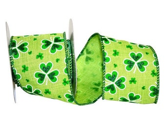 St. Patrick's Day Linen Delight Ribbon -  Wired Edge - Available in  - 2 Widths - 10 & 20 Yard Rolls