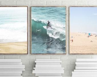 surf print sea waves ocean wall art surf board poster beach photography summer wall art teenager surfer poster surfing printable set of 3