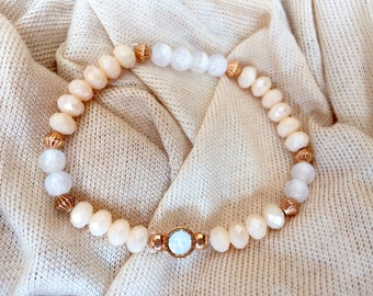 Bracelet pink gold peach white
