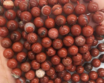 1Full Strand Red Jasper Beads 6mm 8mm 10mm Wholesale Gemstone For Jewelry Making
