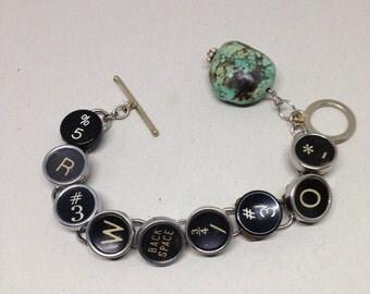 Typewriter Keys/Turquoise/Sterling Bracelet