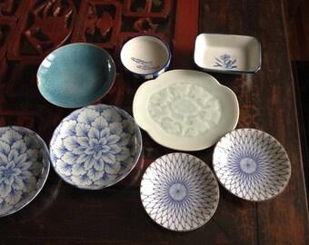 Japanese Sushi Plates, Vintage, Lot