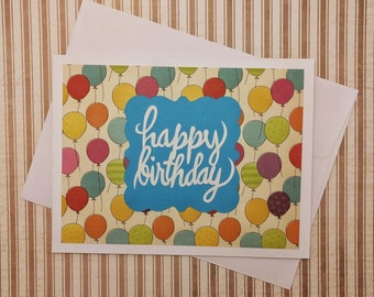 Birthday Card, Happy Birthday Card, Colorful Birthday Card, Balloons Birthday Card, Birthday Greeting Card, Handmade Birthday Card, Balloons