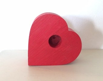 Swedish Wooden Red Heart Candlestick Holder - ideal Valentines / Anniversary gift!