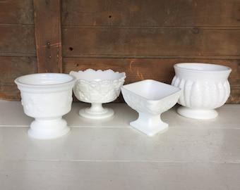 4 Vintage Milk Glass Compotes, Planters, Vase, Centerpiece, White, Wedding Decor, Cottage Style, Farmhouse Style, Rustic Decor, Home Decor