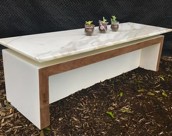 Marble and solid Walnut coffee table
