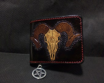 Handmade natural leather wallet with Baphometh head