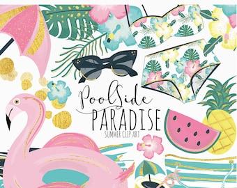 Poolside Paradise Clip Art