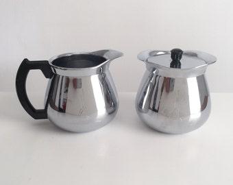 Vintage Cream and Sugar Set, Vintage Coffee Tea Serving, Chrome Sugar and Cream Set