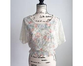 Vintage Floral Lace Blouse, 70s Floral Lace  Blouse