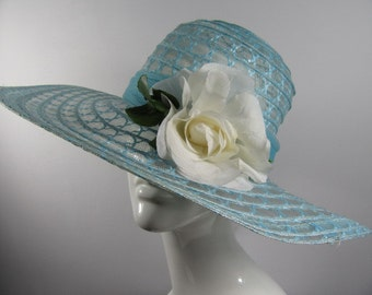 Vintage 1970s Summer Hat with Rose & Scarf attached, Boho, Festival