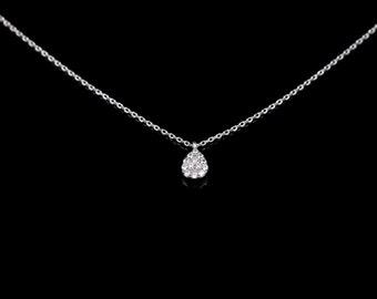 Sterling Silver CZ Necklace, Solitaire Necklace, Teardrop Cubic Zirconia Necklace, Bridesmaids Necklace, Necklace Layered, Everyday necklace
