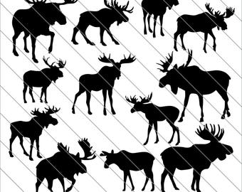 Moose Silhouettes SVG, moose clipart, bull moose, Moose svg Cut File,DXF,PNG Use with Silhoutte Studio & Cricut Instant Download