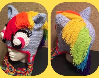 My little pony Rainbow Dash crochet hat made to order in any size