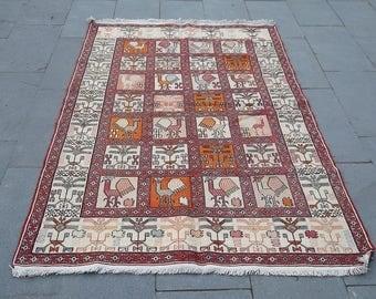 vintage soumak kilim rug 198x120cm  6.3x3.9 feet,desin rug,noah arc design rug,carpet,teppich,kilim rug,home decor rug