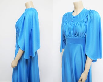 Boho Maxi Dress, 1970s, Vintage Maxi Dress, UK12, Blue Dress, Alternative Wedding Dress, Bohemian, Bridesmaid, Vintage Clothing, Dresses