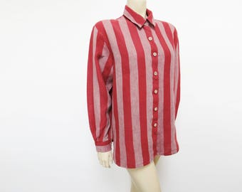 Free Shipping* Vintage Shirt, UK18, Tomboy, Ladies Shirt, Ladies Clothing, Retro, Striped Shirt, Vintage Clothing, Shirts, Womenswear