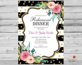 Rehearsal Dinner Invitation, Floral Wedding, Black & White Stripes, Watercolor Flowers, Custom Digital Printable NOT Instant Download, B53