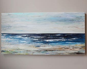 wall art,seascape ,Original Painting,Acrylic Painting,art painting, canvas art, landscape painting,beach,blue,sky
