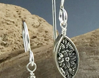 Sterling silver and iolite earrings
