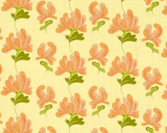 By The HALF YARD - Sugar Blossom by Amy Hamberlin of Kati Cupcake for Henry Glass, Patt. #9332 Tonal Orange Flowers, Green Leaves on Yellow
