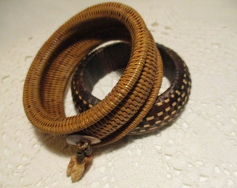 Two Vintage Wicker Bangle Bracelets  70's Fashion Costume Jewelry