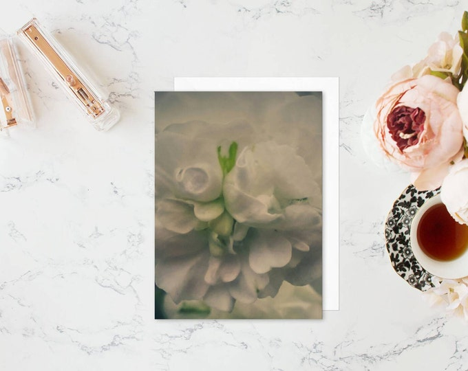 Green Floral Blank Note Card & Set