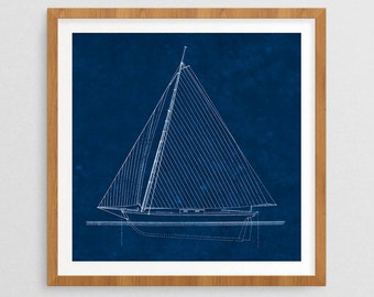 Natuical Blueprint II- Nautical Decor- Ship Gifts- Prints for Decor- Ocean Art- Seaside- Ships- Boats- Sailing