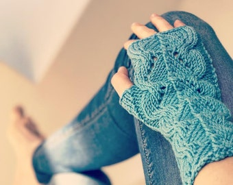 Turquoise lace extra wool merino higher handknitted Fingerless gloves