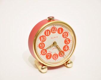 Vintage small mechanical alarm clock Slava USSR, soviet alarm clock, retro alarm clock,