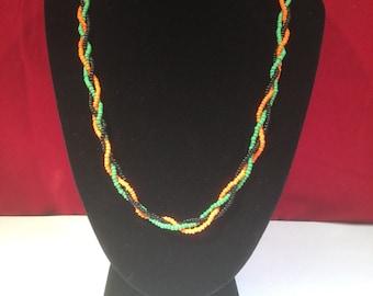 Vintage Beadwork Necklace - Orange, Green & Black