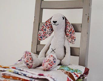 Made to order Flopsy Bunny in natural linen with black star accent fabric