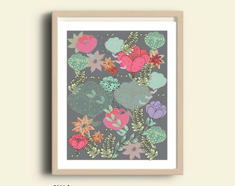 Floral print, floral wall art, floral printable, printable wall art, home decor poster, flower printable, printable floral art, wall art Jpg