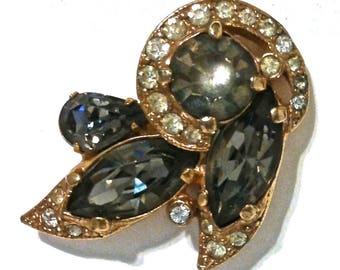 Vintage Eisenberg Ice Earrings Signed Eisenberg Ice Clip On Earrings Gold Tone & Black And Clear Rhinestones Costume Jewelry Bridal Jewelry