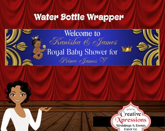 Royal Prince with Gold Crown Water Bottle Wrapper, Water Bottle Label, Digital File
