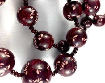 Handcrafted polymer clay necklace- burgundy, cream and red floral