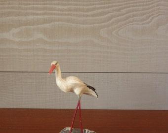 White Stork in its nest, 1950s vintage