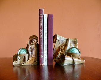 Universal Statuary Hispaniola Bookends, Caribbean Pirate Old World Globe Bookends, Pirate Nursery Decor, Mid Century Nautical Decor