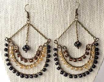 Chandelier Hoop Glass Bead Earrings
